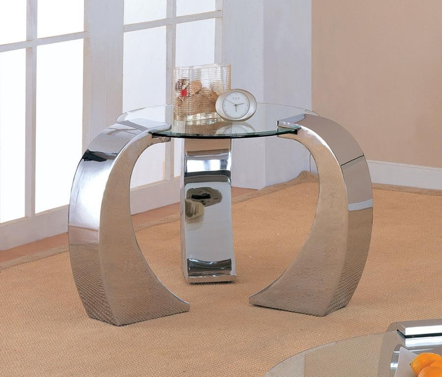 LIVING ROOM: GLASS TOP OCCASIONAL TABLES - Contemporary Silver End Table