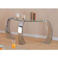 LIVING ROOM: GLASS TOP OCCASIONAL TABLES - Contemporary Silver Sofa Table