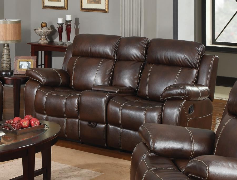 MYLEENE MOTION COLLECTION - Myleene Chestnut Leather Reclining Loveseat