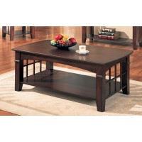 LIVING ROOM: WOOD TOP OCCASIONAL TABLES - Abernathy Cherry Rectangular Coffee Table