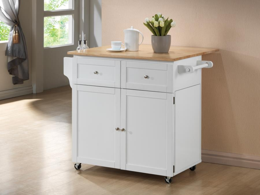 Attrayant DINING: KITCHEN CARTS   Transitional Natural Brown And White Kitchen Cart