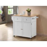 DINING: KITCHEN CARTS - Transitional Natural Brown and White Kitchen Cart