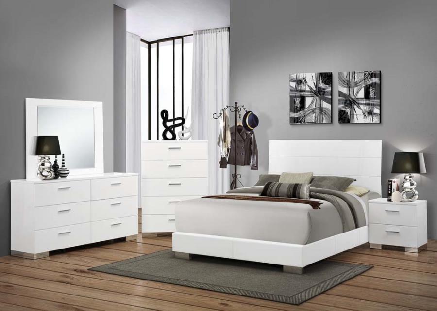 Felicity Collection - Felicity Contemporary White California King Bed
