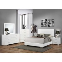 Felicity Collection - Felicity Contemporary Glossy White Queen Bed