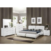 Felicity Collection - Felicity Contemporary White Upholstered Eastern King Bed