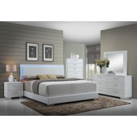 Felicity Collection - Felicity Contemporary Glossy White Lighted Eastern King Bed