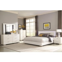 Felicity Collection - Felicity Contemporary Glossy White Lighted Queen Bed