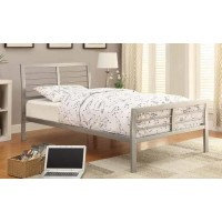 COOPER METAL BED - Cooper Contemporary Silver Metal Twin Bed