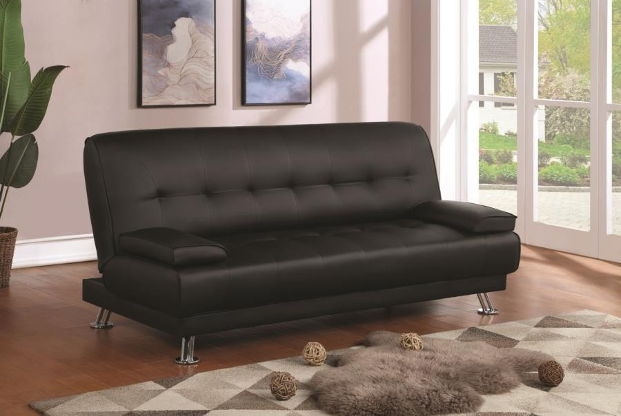 LIVING ROOM : SOFA BEDS - Contemporary Black and Chrome Sofa Bed