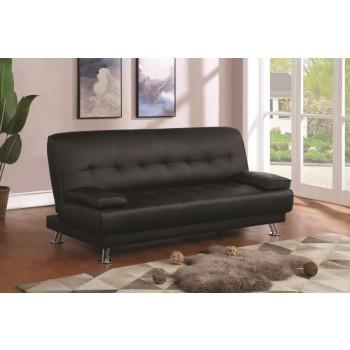 LIVING ROOM : SOFA BEDS - Contemporary Black and Chrome Sofa Bed