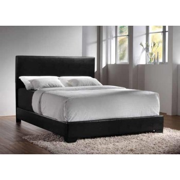CONNER UPHOLSTERED BED - Conner Casual Black Upholstered Twin Bed