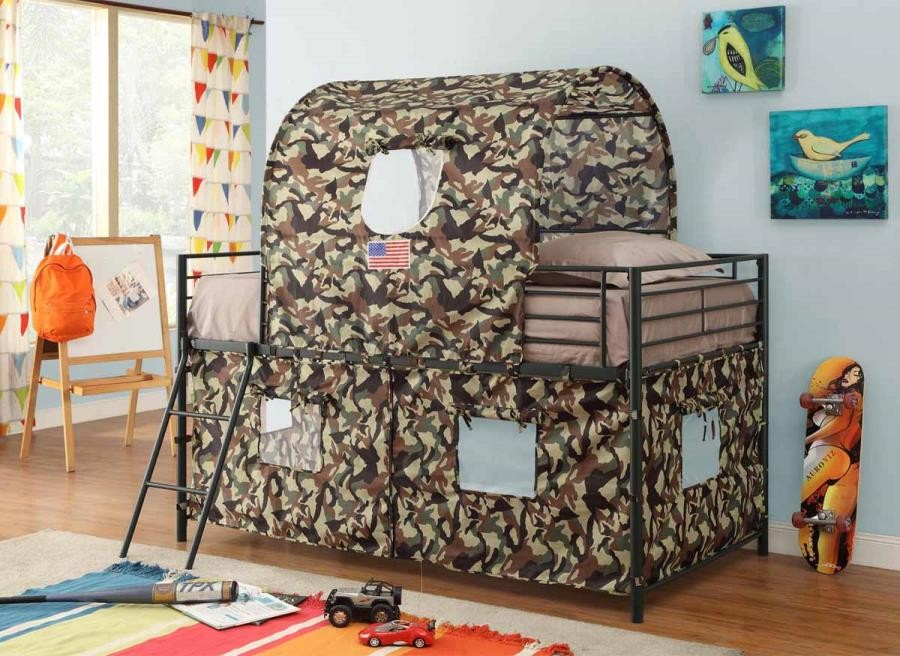 Camouflage tent bed - TWIN LOFT BED