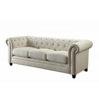 ROY COLLECTION - Roy Traditional Oatmeal Button-Tufted Sofa