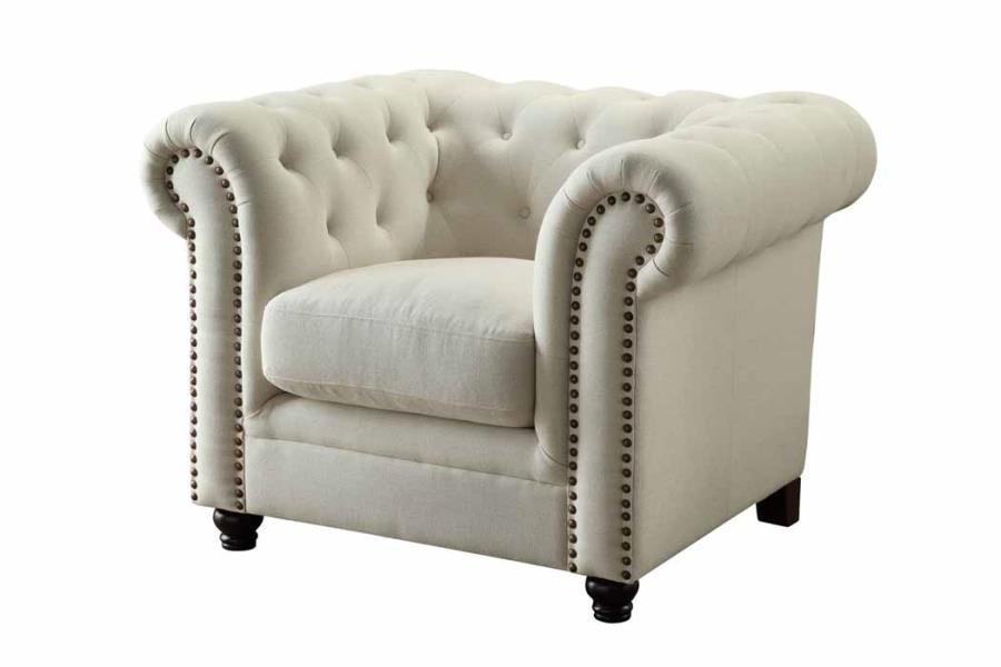 ROY COLLECTION - Roy Traditional Oatmeal Button-Tufted Chair