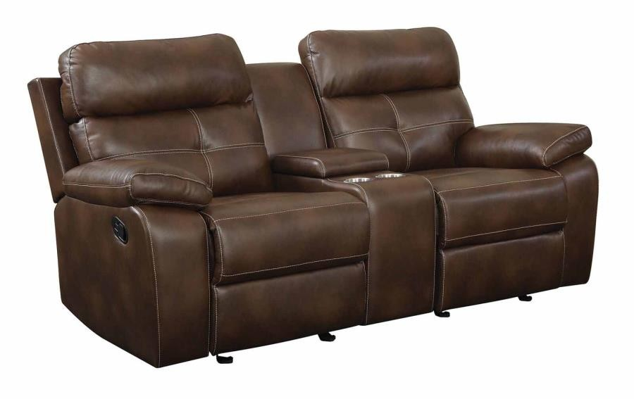 Outstanding Damiano Motion Collection Damiano Brown Faux Leather Reclining Loveseat Machost Co Dining Chair Design Ideas Machostcouk