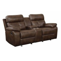 DAMIANO MOTION COLLECTION - Damiano Brown Faux Leather Reclining Loveseat
