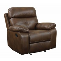 DAMIANO MOTION COLLECTION - Damiano Brown Faux Leather Recliner
