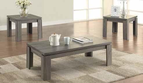 LIVING ROOM : OCCASIONAL SETS - Occasional Table Sets Contemporary Distressed Grey Three-Piece Set