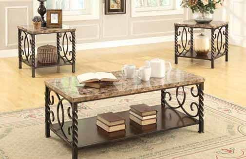 LOCKHART COLLECTION - Occasional Table Sets Transitional Faux Marble  Three-Piece Set