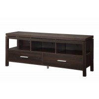 LIVING ROOM : TV CONSOLES - Transitional Dark Brown TV Console