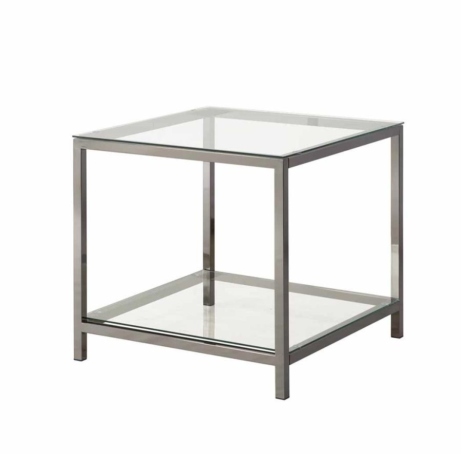 LIVING ROOM: GLASS TOP OCCASIONAL TABLES - Contemporary Black Nickel Side  Table