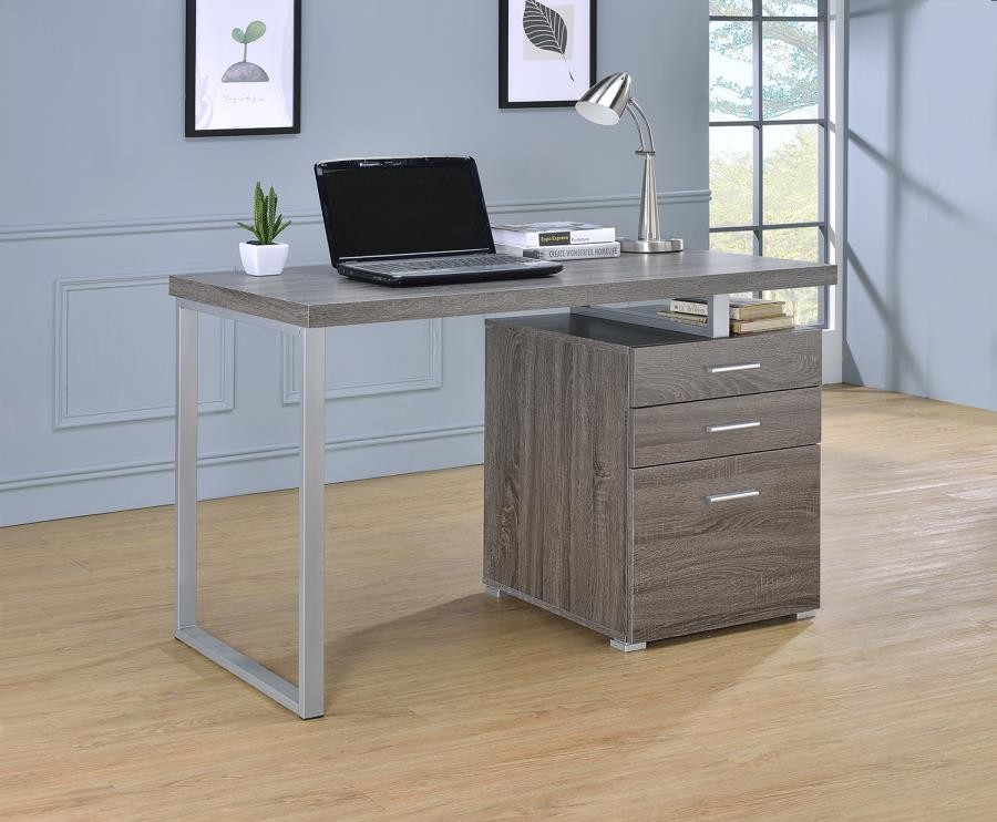 BRENNAN DESK - Contemporary Weathered Grey Writing Desk