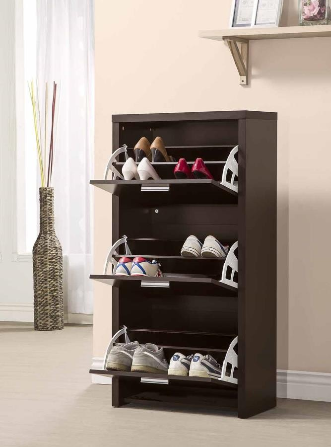 Transitional Black Shoe Rack 900604 Shoe Rack Price