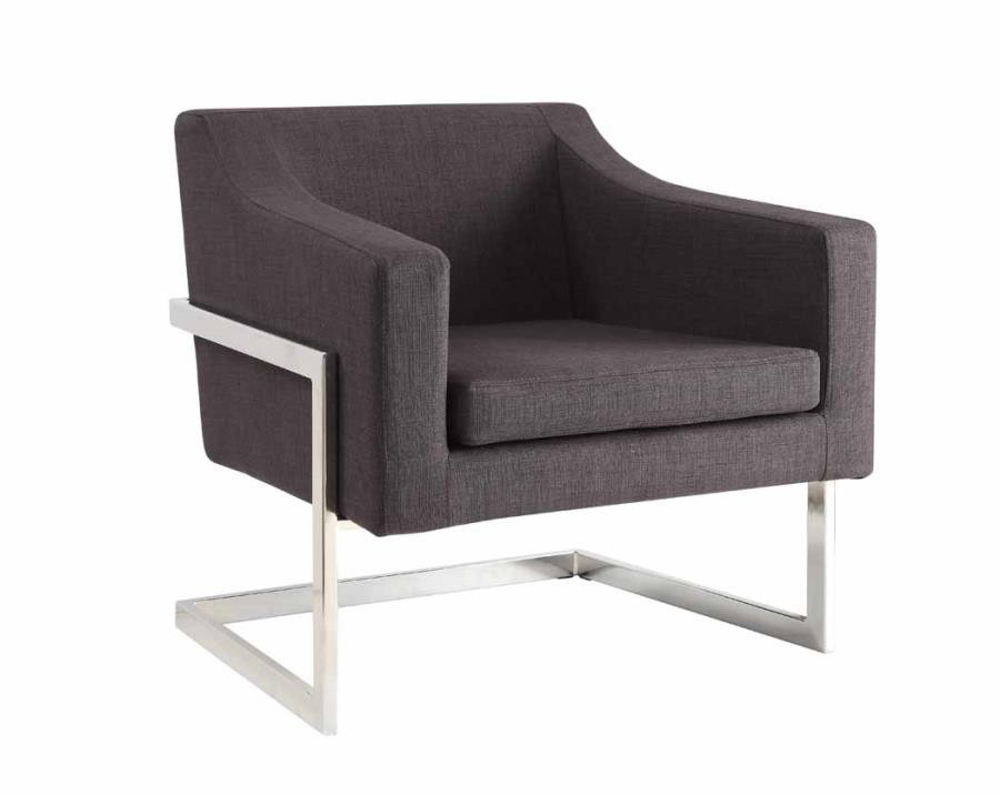 Superb Accents Chairs Contemporary Grey And Chrome Accent Chair Pabps2019 Chair Design Images Pabps2019Com