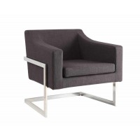 ACCENTS : CHAIRS - Contemporary Grey and Chrome Accent Chair