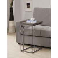Transitional Black Nickel Snack Table