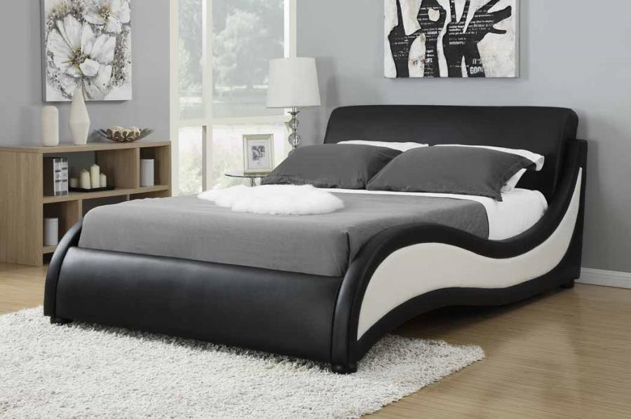 NIGUEL UPHOLSTERED BED - Niguel Contemporary Black and White Upholstered Queen Bed