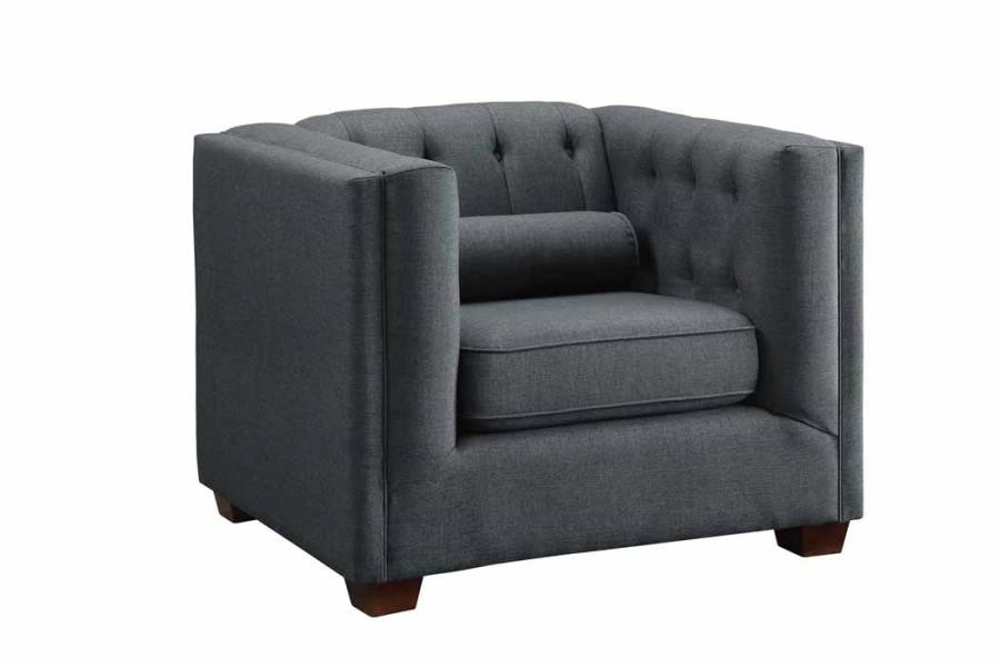CAIRNS COLLECTION   Cairns Transitional Charcoal Tufted Back Chair