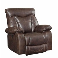 ZIMMERMAN MOTION COLLECTION - Zimmerman Dark Brown Faux Leather Power Motion Recliner