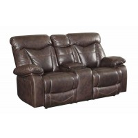 ZIMMERMAN MOTION COLLECTION - Zimmerman Dark Brown Faux Leather Power Motion Loveseat