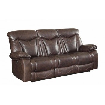 ZIMMERMAN MOTION COLLECTION - Zimmerman Dark Brown Power Motion Faux Leather Reclining Sofa