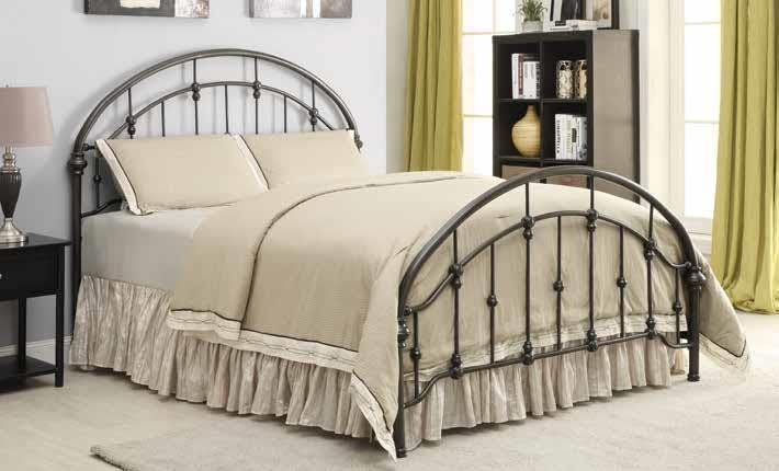 ROWAN METAL BED - Maywood Transitional Black Metal Twin Bed