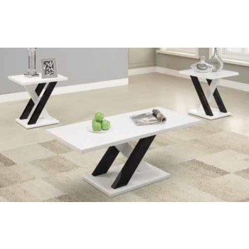 LIVING ROOM : OCCASIONAL SETS - Contemporary White Three-Piece Table Set