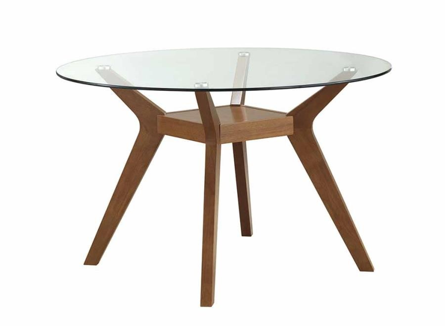 PAXTON COLLECTION - Paxton Mid-Century Modern Nutmeg Glass Dining Table