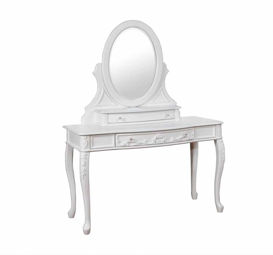 CAROLINE COLLECTION - Caroline White Vanity Desk