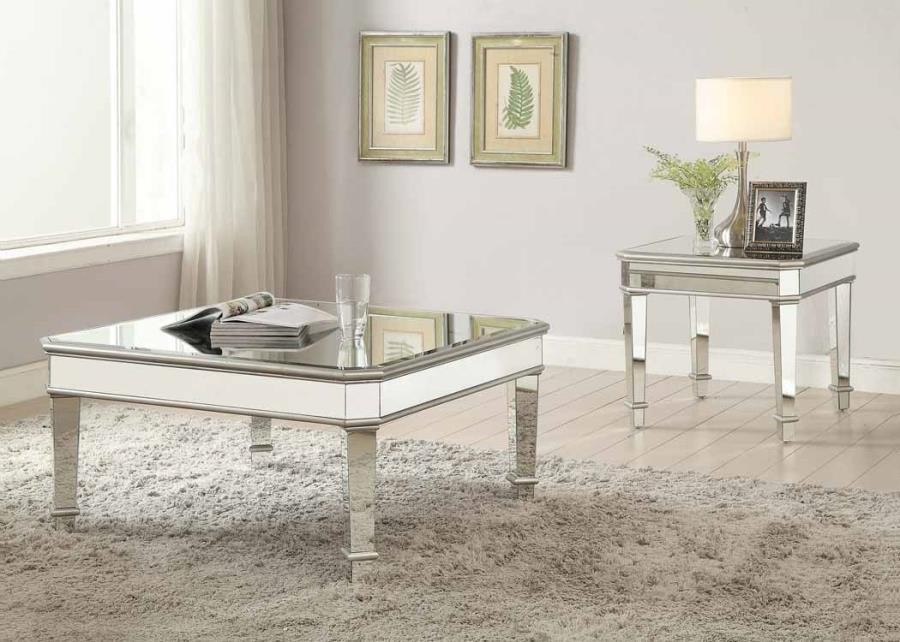 LIVING ROOM: GLASS TOP OCCASIONAL TABLES - Contemporary Silver End ...