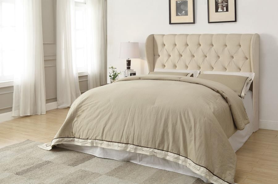 MURRIETA HEADBOARD - Murietta Traditional Beige Upholstered King Headboard