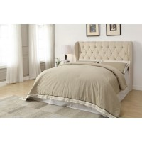 MURRIETA HEADBOARD - Murietta Traditional Beige Upholstered Queen Headboard