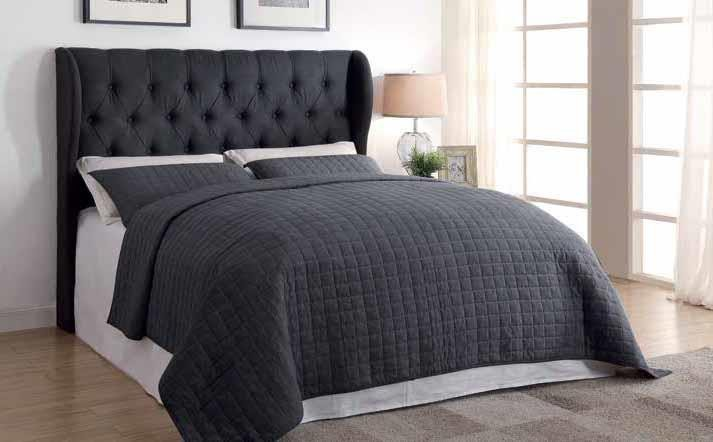 MURRIETA HEADBOARD - Murietta Traditional Charcoal Upholstered Queen Headboard