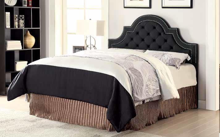 OJAI HEADBOARD - Ojai Traditional Charcoal Upholstered Queen Headboard