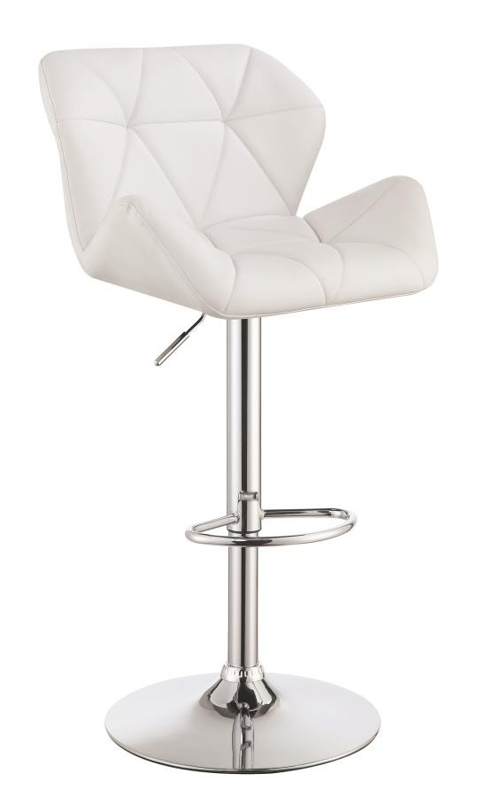 REC ROOM/BAR STOOLS: HEIGHT ADJUSTABLE - Contemporary White Adjustable Bar Stool (Pack of 2)