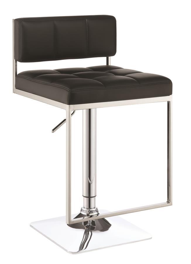 REC ROOM/BAR STOOLS: HEIGHT ADJUSTABLE - Contemporary Black Adjustable Bar Stool