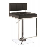 REC ROOM/BAR STOOLS: HEIGHT ADJUSTABLE - Contemporary Black Adjustable Bar Stool