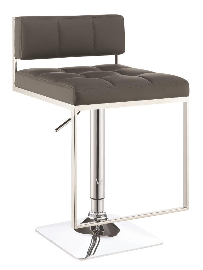 REC ROOM/BAR STOOLS: HEIGHT ADJUSTABLE - Contemporary Grey Adjustable Bar Stool