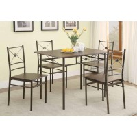 DINING: PACKAGED SETS: METAL - Transitional Walnut Five-Piece Set