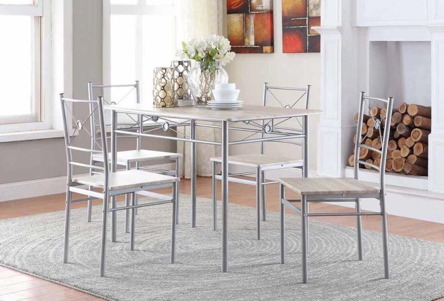DINING: PACKAGED SETS: METAL - Transitional Taupe Five-Piece Set